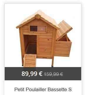Petit poulailler Bassette 2 pour 2 poules - Poulailler-Direct