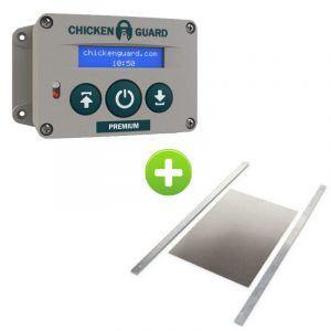 """Portier-automatique-ChickenGuard-""""Premium""""-et-porte-poulailler-aluminium-Large"""