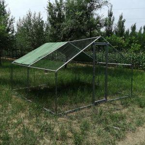Enclos-poulailler-parc-grillagé-acier-galvanisé-grande-hauteur-et-tube-épais---4x4x2,5m-vue-de-face