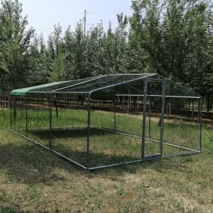 Enclos-poulailler-parc-grillagé-grande-hauteur-et-tube-épais---3x6x2,25m-vue-profil-avant