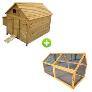 Grand poulailler Bassette XXL 15 à 18 poules toit bois avec extension parc grillagé