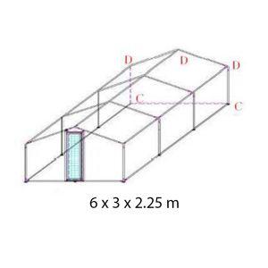 Extension pour parc grillagé grande hauteur et tube épais 4x3x2.25m schéma une extension
