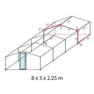 Extension-pour-parc-grillagé-grande-hauteur-et-tube-épais-4x3x2.25m-schéma-deux-extensions