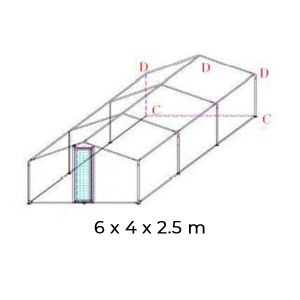 Extension pour parc grillagé acier galvanisé 4x4x2.5m - schéma