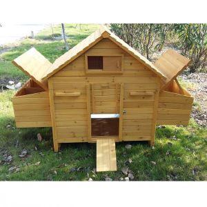 Poulailler Bassette XL 6 à 10 poules toit bois avec deux pondoirs