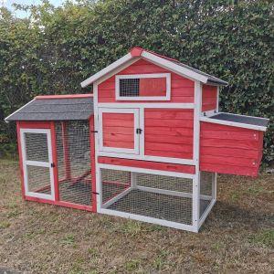 Poulailler-Columbus-rouge-pour-3-à-4-poules-vue-profil-avant