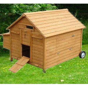 Poulailler mobile Landais 6 à 8 poules toit bois avec roulettes