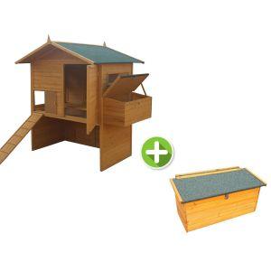 Poulailler Vorwerk 15 à 18 poules toit shingle vert avec 2 pondoirs