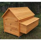 Poulailler mobile Challans 10 à 15 poules toit bois avec roulettes